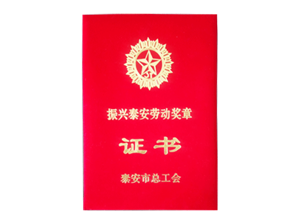 振兴泰安劳动奖章证书
